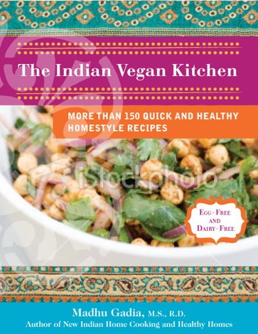 "Cover page of Madhu's book titled ""The Indian Vegan Kitchen""."