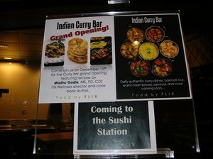 Grand Opening sign for the Indian Curry Bar at FLIK cafeteria.