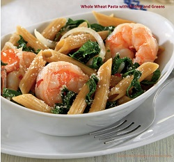 View post titled Whole Wheat Pasta with Seafood and Greens